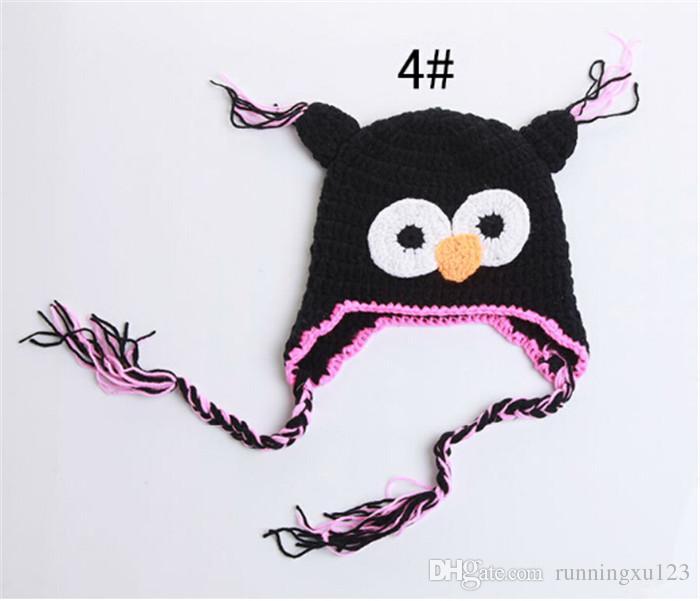meilleur prix 10 couleur crochet chapeaux pour enfants bébé main tricot chouettes chapeau bonnet tricoté casquettes pour enfants D401