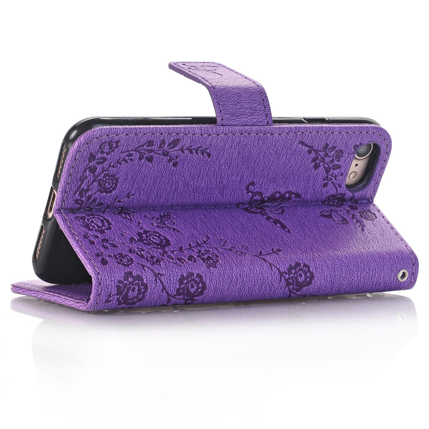 Leather Case Colourful Cover Card Slot Smartphone Cover with Butterfly Pattern For Iphone 5S 6S/6S plus/7 Plus/8 Iphone X 1pc