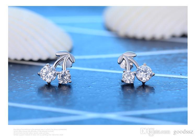 925 스털링 실버 스터드 귀걸이 패션 쥬얼리 여자를위한 작은 체리 다이아몬드 크리스탈 우아한 스타일 귀걸이 여자 고품질