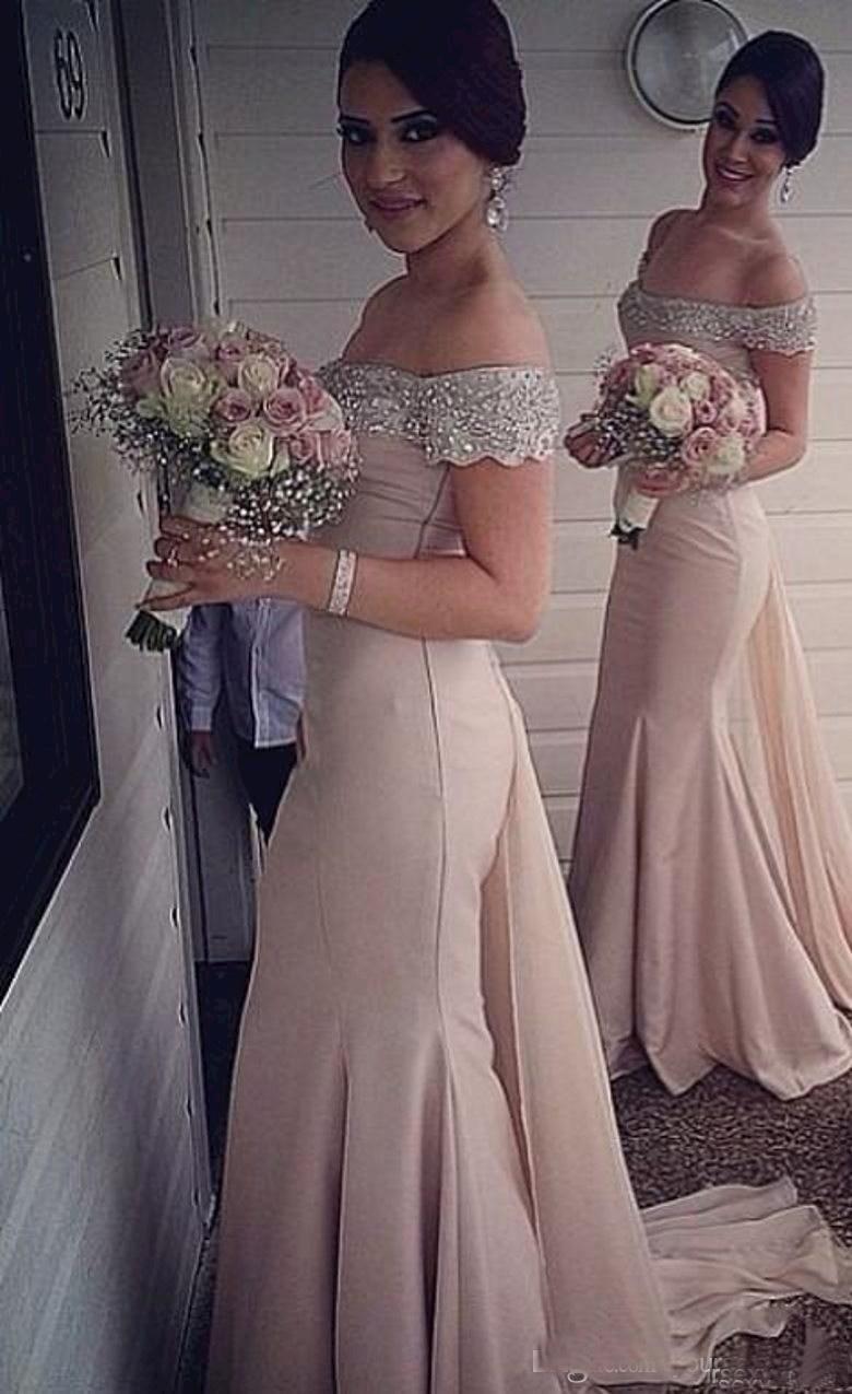 Meerjungfrau Chiffon Günstige Brautjungfernkleider 2016 Sexy Scoop Capped Ärmel Backless Perlen Kristall Falten Top Verkauf Bodenlangen Formelle kleidung