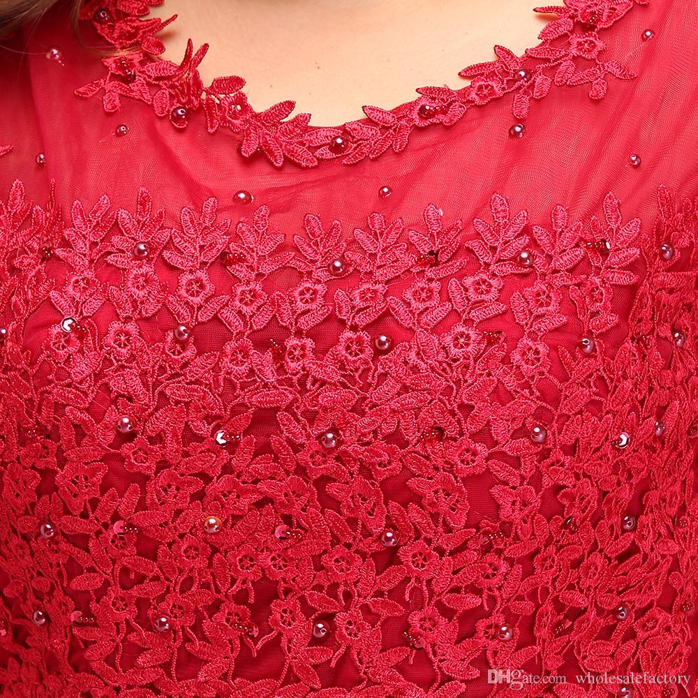 Immagine reale Plus Size Pizzo rosso Abiti da sera lunghi Tulle Pizzo con perline pavimento Lunghezza abiti da damigella d'onore CPS299