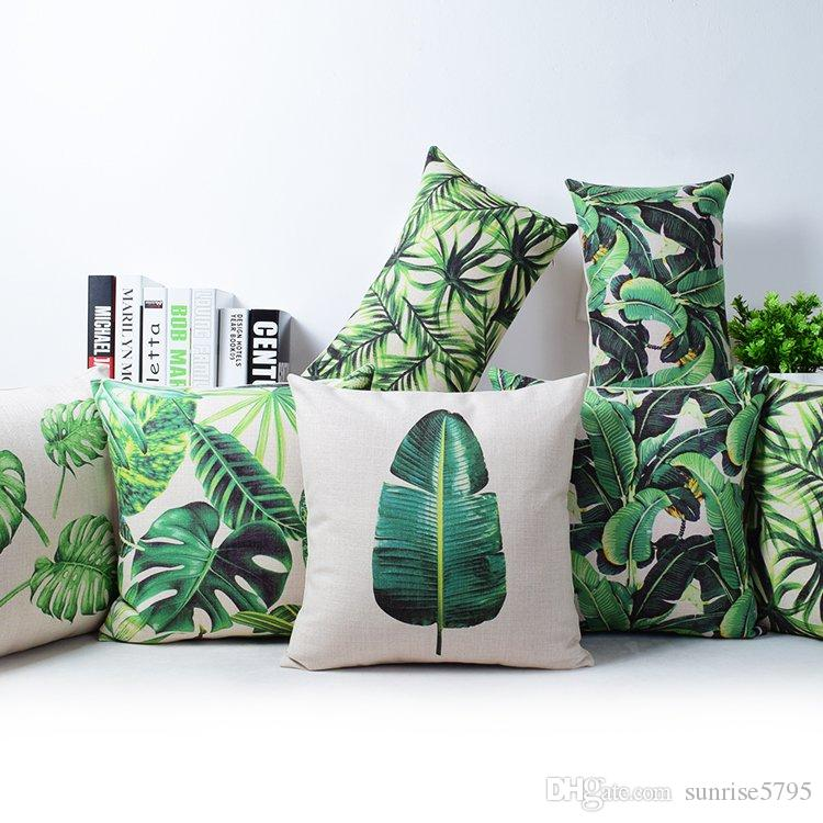 Tropical Rainforest Cushion Cover Green Jungle Plant Throw Pillow