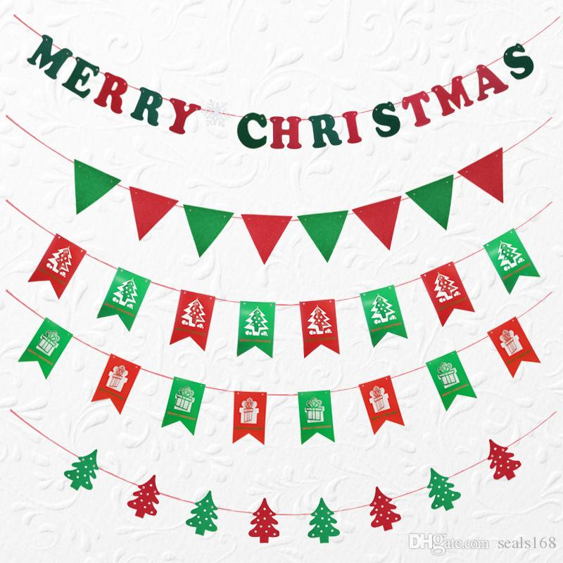 DHL navire décorations de Noël wapiti renne chaussettes arbre bannière drapeaux ornements suspendus partie fenêtre fournitures intérieures HH7-254