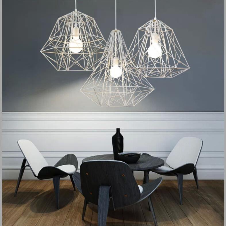 Discount Fumat Metal Cage Pendant Light Nordic Industrial Style Hive White Black Chandelier Living Room Office Bar Fitting Ceiling