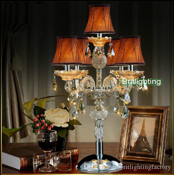 2018 Contemporary Table Lamp Bedroom Led Table Lamps Candle Modern Crystal  Table Lighting Glass Arms Wedding Candelabra Living Room Led Desk Lamp From  ...