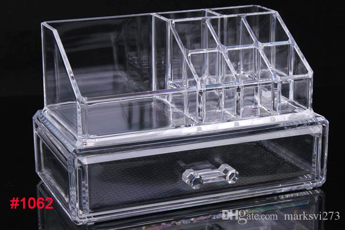 Drawer Clear Acrylic Crystal Cosmetic Organizer Makeup Case Storage Box Jewelry Display Stand Holder Lipstick Nail Polish Rack