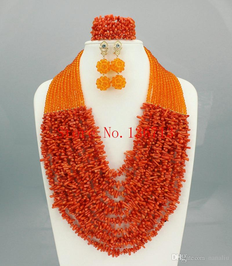 Hot Nigerian Wedding African Coral Beads Jewelry Set Coral Beads Necklace Jewelry Set Free Shipping HD101-2