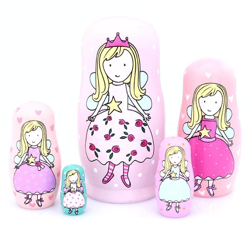 nesting dolls handmade wooden cute cartoon pink angel girls