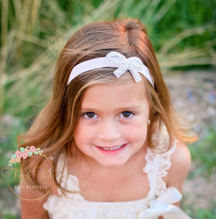 10 unids Nuevo Bebé Vendas Con Bling Mariposa Rhinestone Elástico Arco Cristal Hairbands Accesorios para el cabello nupcial Bautismo de Navidad Arcos de pelo
