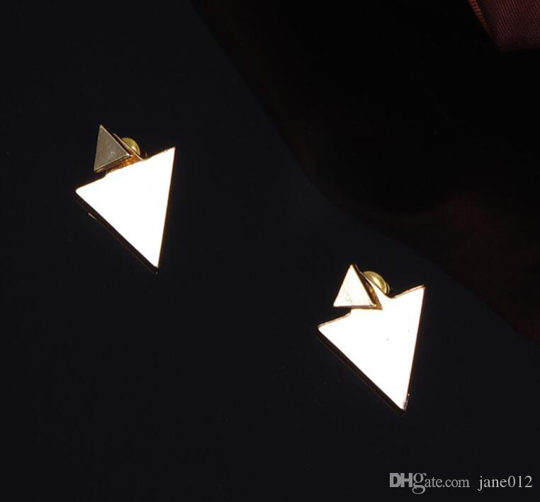 Studs Geometrische Driehoek Stud Oorbellen Straat Mode Oordrop Oor Decoreert Europese en Amerikaanse Legering Ooringen Kleur Zilver Goud
