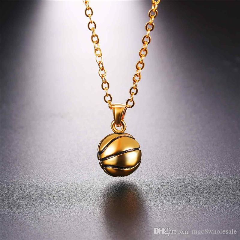 U7 Football/Soccer/Basketball Pendants Necklace Ball Enamel Jewelry Sports Fashion Gold Plated Stainless Steel Chain Men Bijoux GP2557