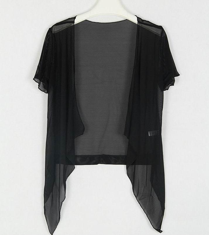 Summer Women Short Sleeved Chiffon Jacket Cardigan Lady Tank Top ...