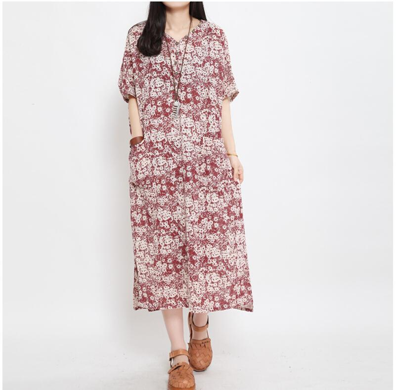 Women Dress Short Sleeve Maxi Dress Plus Size Cotton And Linen ...