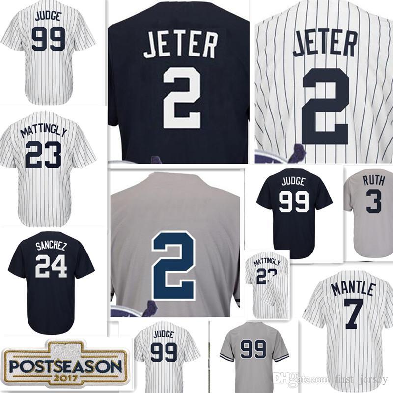 New York  99 Aaron Judge Jersey 2 Derek Jeter 24 Gary Sanchez 7 Mickey  Mantle 3 Babe Ruth All Rise Baseball Jerseys Jeter Jersey Sanchez Jersey  Mattingly ... f03a8a941da