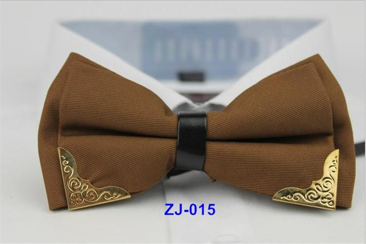 New Bow Tie Mens Polyester Adjustable bowtie Solid Mental Decorated Neckwear commercial
