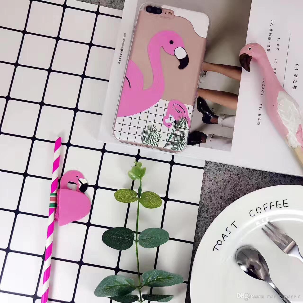 Cheap Price Fashion Flamingo Pattern TPU Soft Cell Phone Case Black & White Plaid Flamingo Phone Shell for Iphoen6 Iphone7 Iphone8