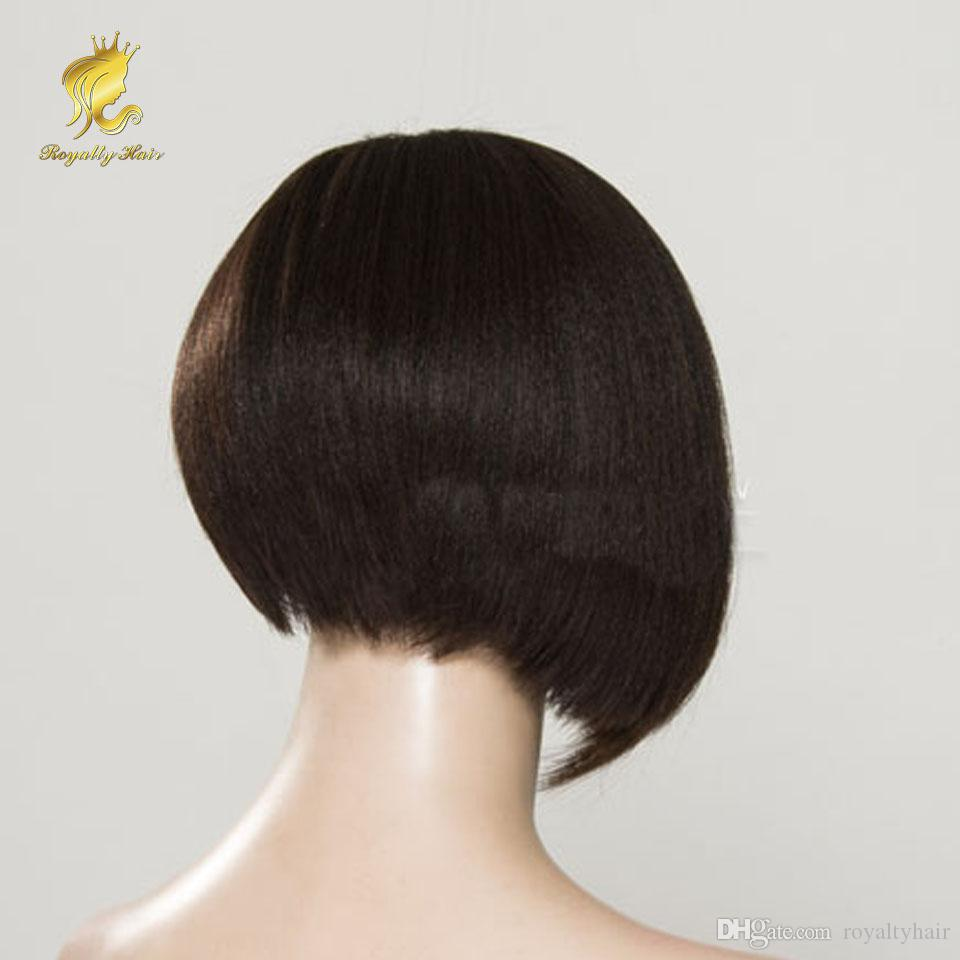 yaki lumière perruque bob cheveux humains en gros pleine dentelle perruque bob perruque avant de lacet avec une frange pour les femmes noires côté partie