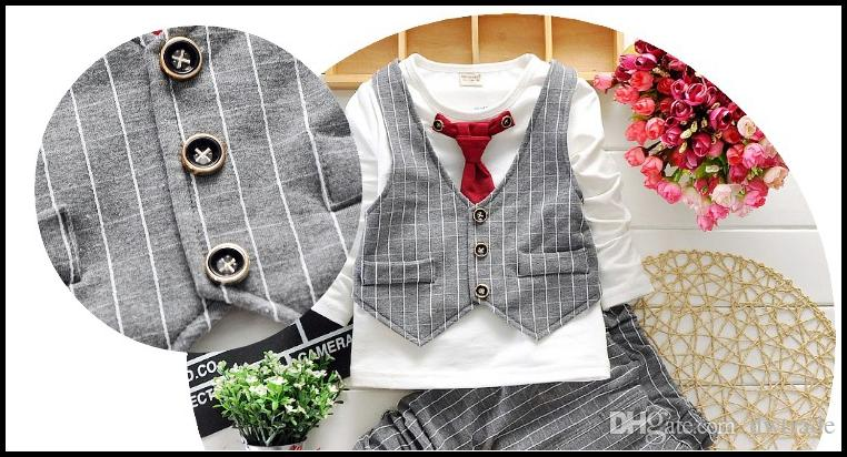 2015 HOT boys gentleman set 2-7Y Children's Autumn Suits clothes Outfits T Shirt+Pants+Plaid Vest+Tie MOQ:SVS0490