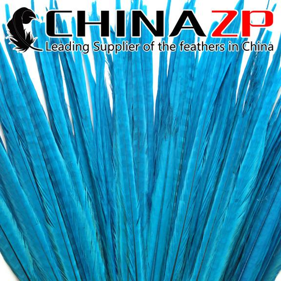CHINAZP Crafts Factory 50pcs/lot 50~55cm(20~22inch) Length Good Quality Dyed Light Blue Ringneck Pheasant Tail Feathers for Decorations