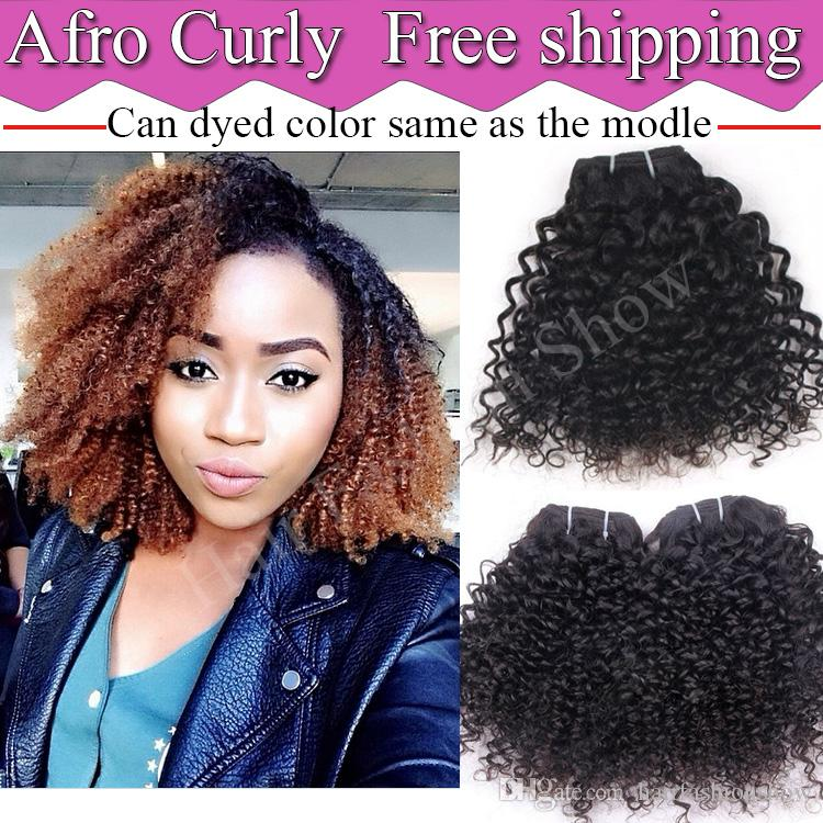Afro Curly Human Hair Weave 10 24 Unprocessed Kinky Curly Virgin Hair  Brazilian Remy Hair Extensions Machine Weft Natural Color Hair Extensions  Weft Remy ... 14d9df1ab