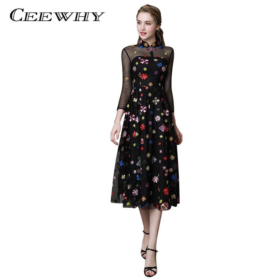 60ed30de46d39 CEEWHY Floral Embroidery Formal Prom Dress Black Evening Dresses Tea-length  Abiye Vestido de Noche Vintage Evening Dress