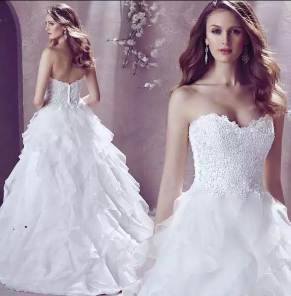 Sexy Strapless Lace Flower Sweet Princess Bride Wedding Dress Small ...
