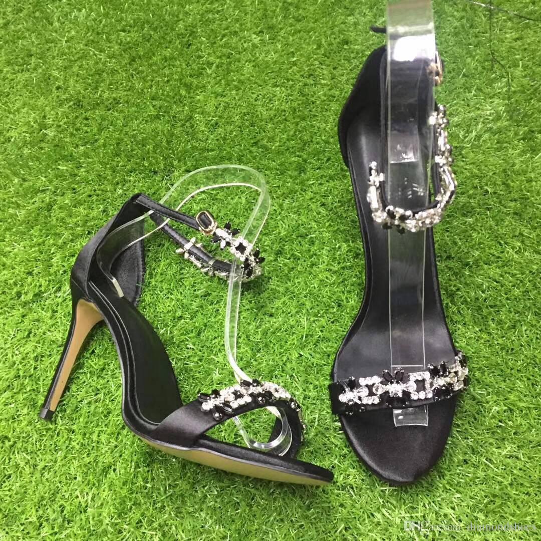 2017 fashion diamond Sandals rhinestone stud high Heels Women gladiator Sandals bling bling Summer satin Shoes Woman crystal wedding pumps