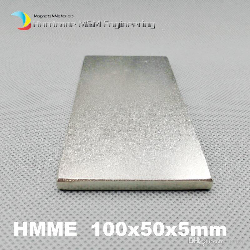 "1 Pack Grade N52 NdFeB Block 100x50x5 mm about 3.94"" Rectangle Bar Strong NdFeB Bar Neodymium Permanent Magnets Industry Magnets"