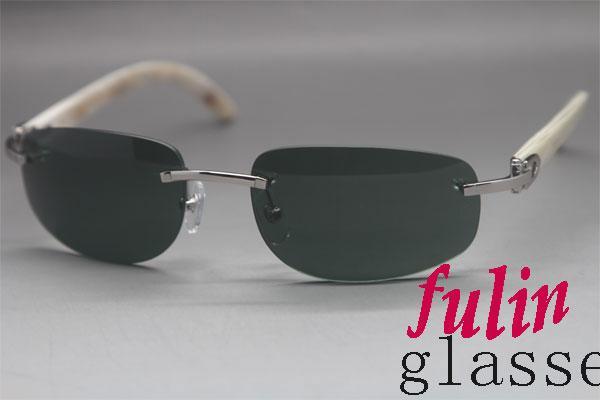 도매 무 테 그린 태양 안경 선물 상자 화이트 정품 버팔로 선글라스 야외 안경을 운전 3524011 크기 : 58-18-140mm
