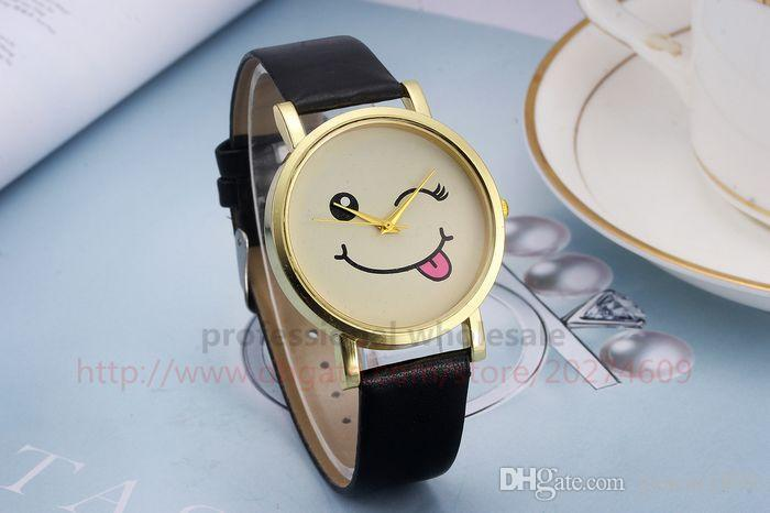 New Arrival Christmas Gift Cute Face Gold Shell Leather Belt Wristwatch Watch for Men Women Children