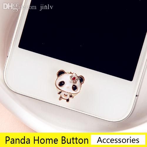 Wholesale-Super Cute Crystal Flowers Panda Home Button Stickers for ...