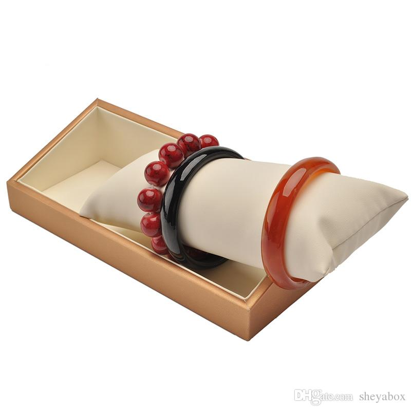 Pillow Rod Bangle Display Stand Creamy PU Leather Beaded Bracelet Necklace Exhibition Holder for Counter Showcase Table Top