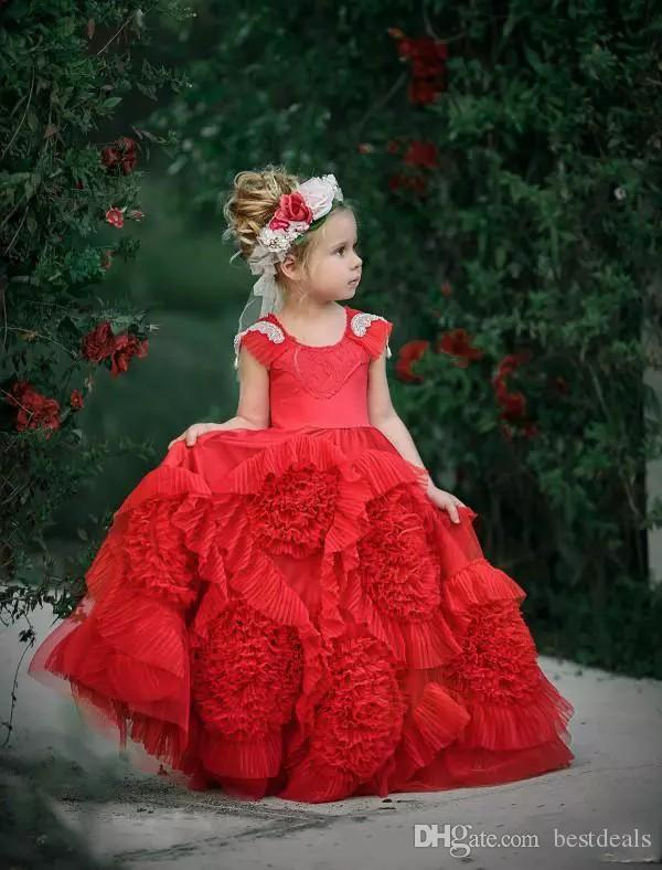 Red Ruffles Flower Girl Dresses For Weddings Tutu 2017 Vintage Beach Child Kids Girls Pageant Gown For Birthday Party Graduation Communion