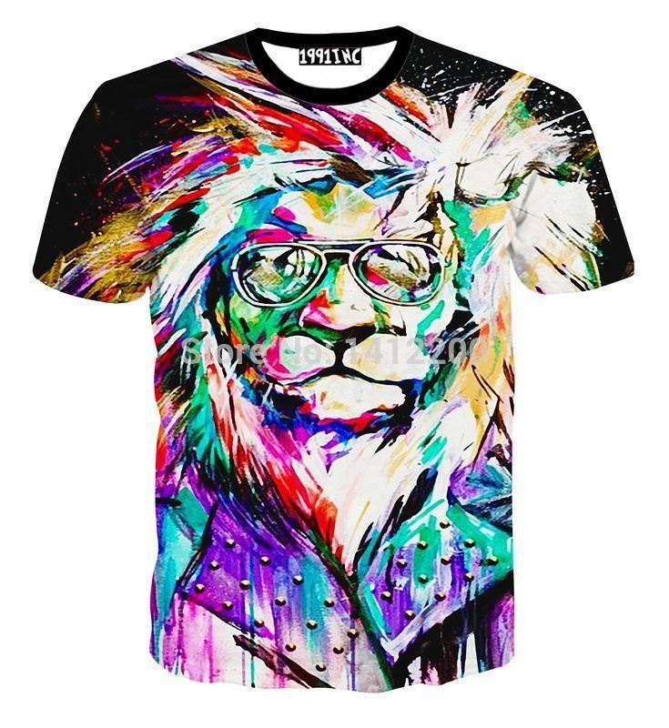2b1415c3 new fashion Lion king Men oil painting short sleeve 3D Print tiger t shirt  animals Women's t-shirts 5600