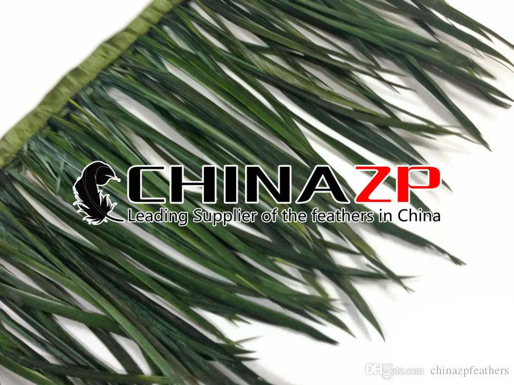 CHINAZP Crafts Factory Wholesale Price 10yards15~20cm6~8inch in Width Olive Green Dyed Goose Biots Feather Trim Fringe