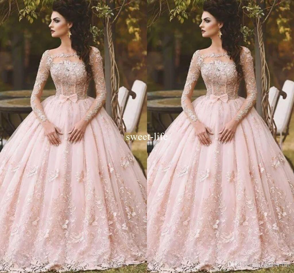 Vintage 2020 di sfera Prom Dresses maniche lunghe Illusione completa Appliqued merletto di Tulle Piano Lunghezza abito da sera Quinceanera