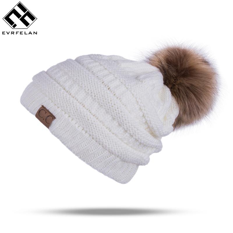 Wholesale- Winter Brand Female Ball Cap Pom Poms Winter Hat For Women Girl   S Hat Knitted Beanies Cap Hat Thick Women S Skullies Beanies Pom Pom Winter  Hat ... 6914643295