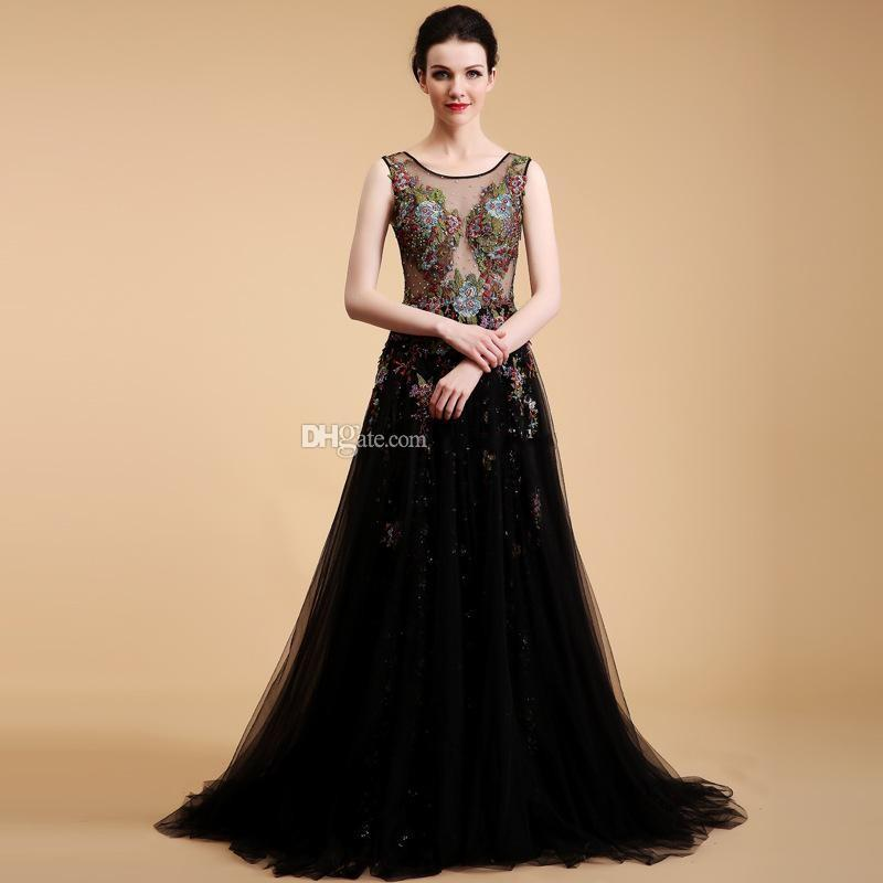 model pictures Saudi Arabia Middle East sexy illusion heavily embroidery beaded sequin evening dresses 2019 scoop neckline formal gowns 085