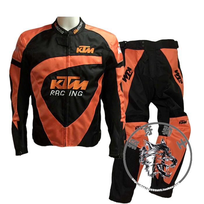 2018 2016new ktm motorcycle jacket and pants set windproof fallproof orange black color size s. Black Bedroom Furniture Sets. Home Design Ideas