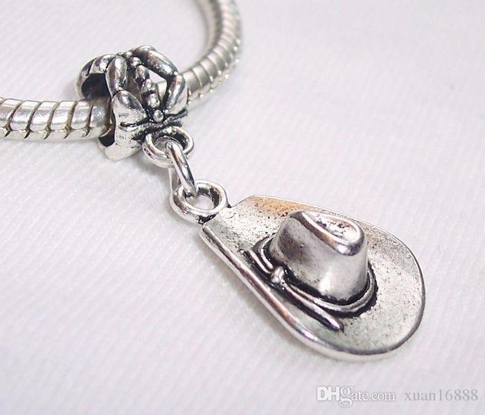 الحار ! Antiqued Silver Cowboy Hat ملابس مجوهرات استرخى الخرزة لسوار سحر الطراز الأوروبي 32 مم × 13.5 مم