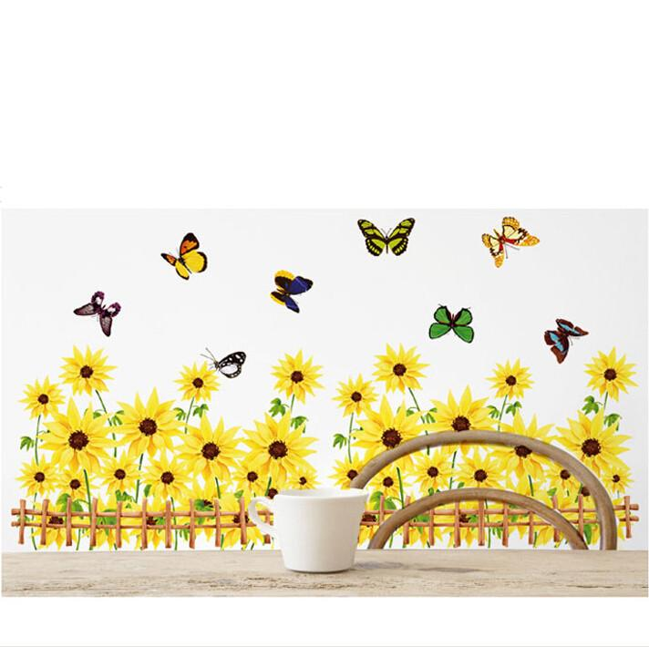 Large Size Sunflower Wall Stickers Home Decor,Pastoral Style Wall Decals, Wall Sticker Kitchen,Muurstickers Voor Kinderen Kamers Wall Tattoos Wall  Tattoos ... Part 55