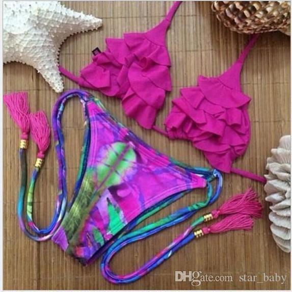 Brazil Bikini 2016 Womens Knit Bikini Set Push up Bandeau Padded Lace Floral Swimsuit Swimwear Wholesale Swimming Clothing K6979