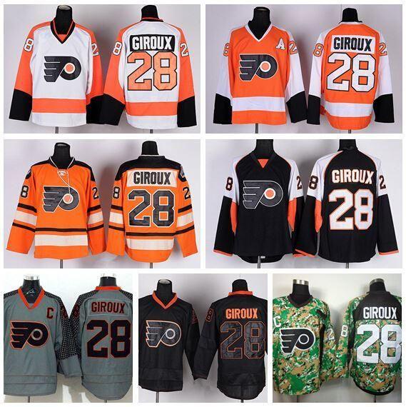 timeless design 1f730 d7136 2016 New, Philadelphia Flyers Maglie Hockey su ghiaccio 28 Claude Giroux  Jersey Classic Winter Team maschile Alternate Orange White Camo Bl