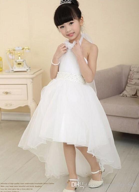Blush Flower girl dresses for weddings New winter long tail floor length ivory lace flower girl dress girls bridesmaid dresses