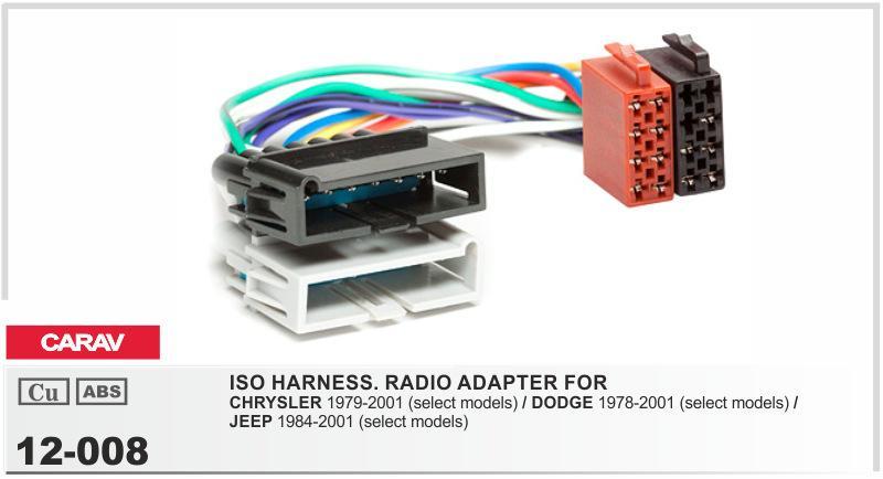carav 12 008 iso radio adapter for chrysler 2017 carav 12 008 iso radio adapter for chrysler dodge jeep GM Wiring Harness Diagram at creativeand.co