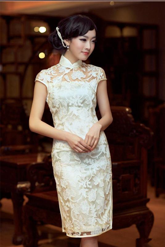 Net Yarn Women Slim Elegant Velvet Chinese Cheongsam Middle Length