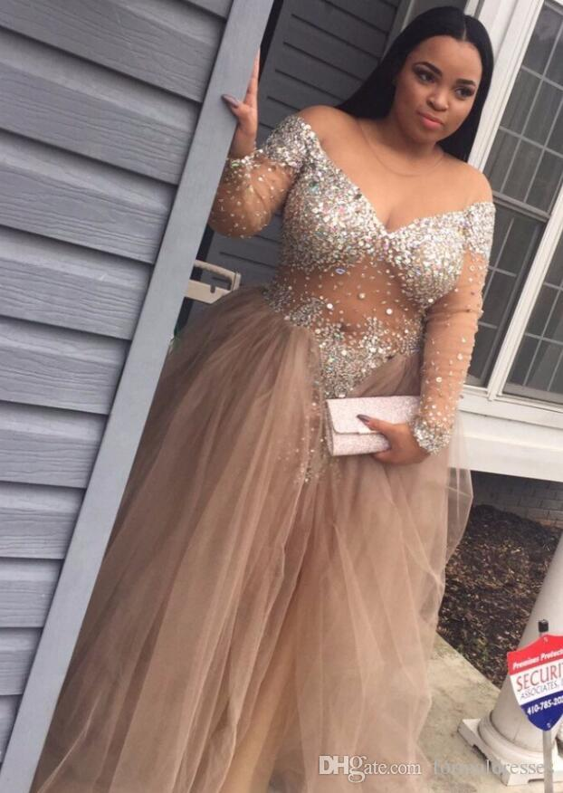 Plus Size Prom Dresses 2018 Deep V Neck Capped Long Sleeves Beading