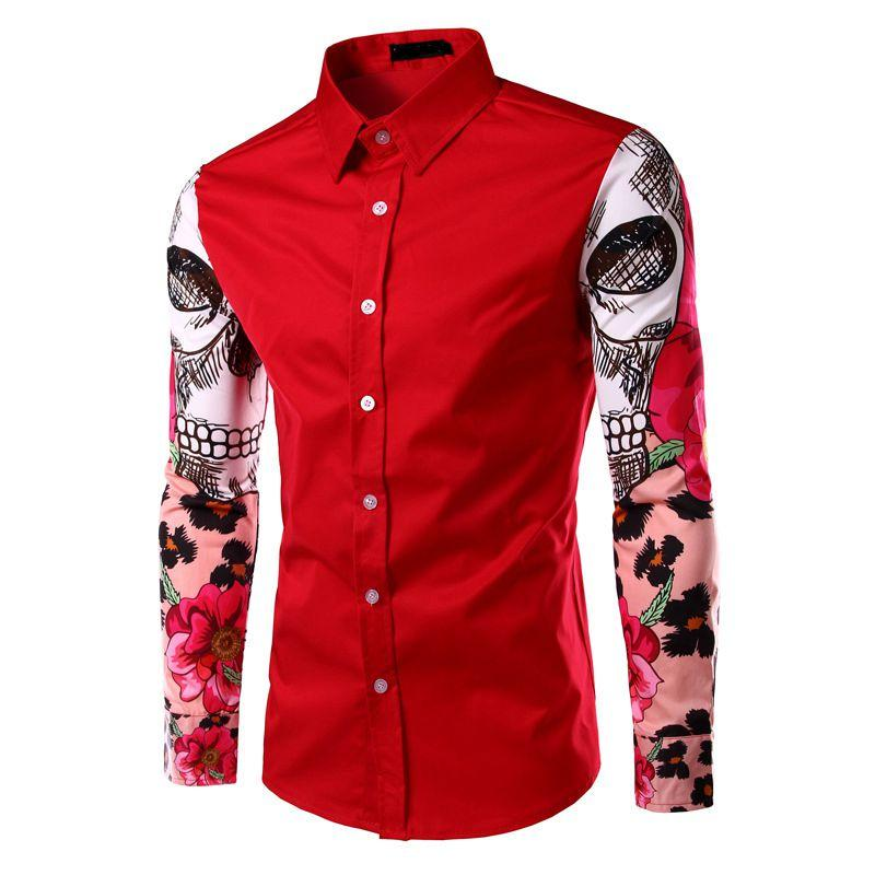 c75a4a75685f Men's Fashion Print Dress Shirt Casual Cotton Button Long Sleeve Flower  Tops Euro Size Camisas Homme Black Red White