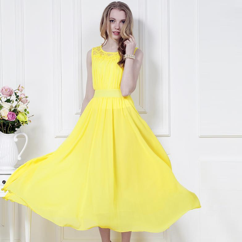 New 2015 Summer Casual Chiffon Long Dress Maxi Dresses Elegant ...