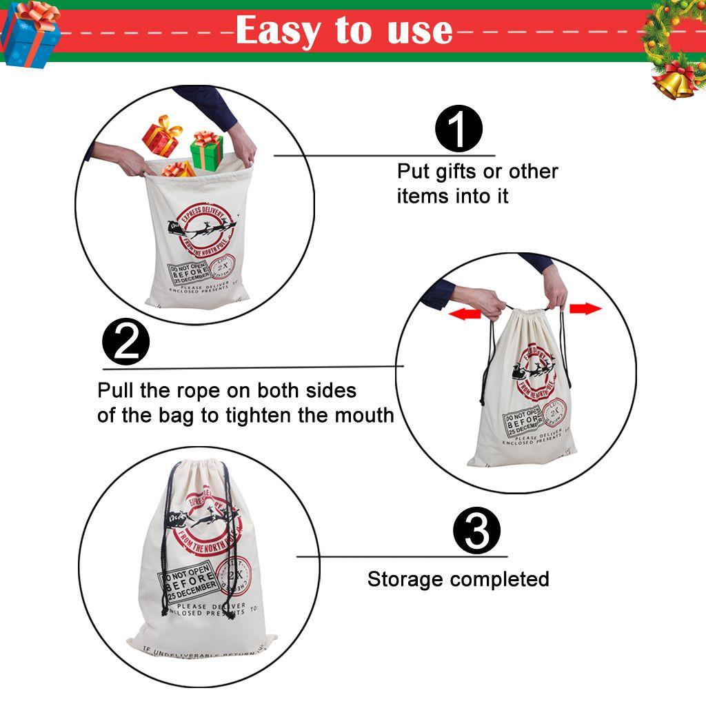 Christmas Gift Bags Large Cotton Canvas Storage Santa Claus Reindeer Drawstring Bag For Kids